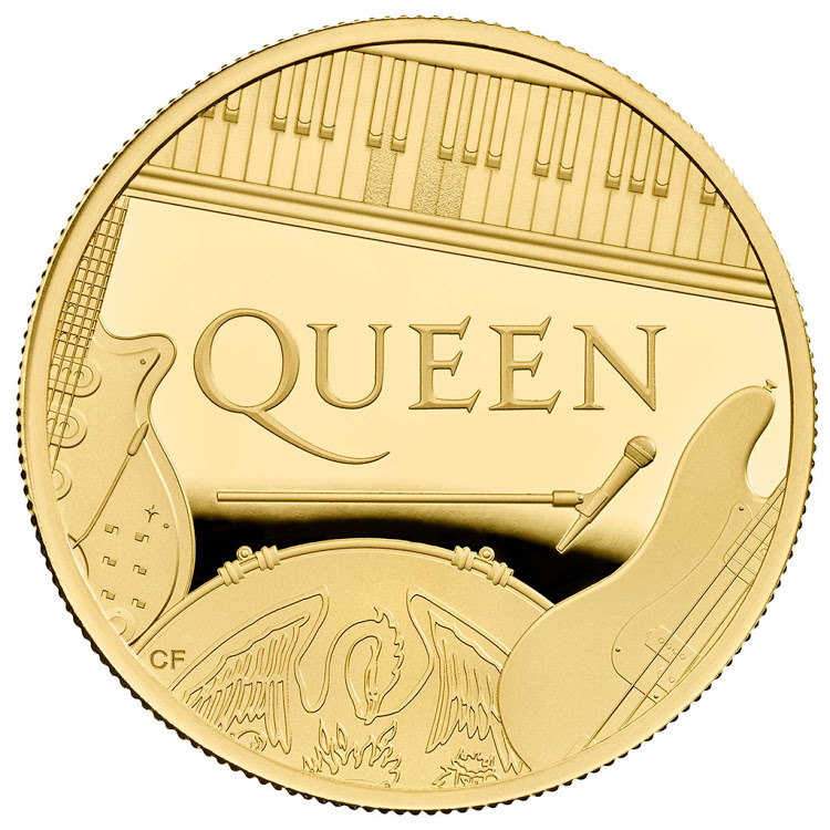 The front of a coin dedicated to the band Queen.