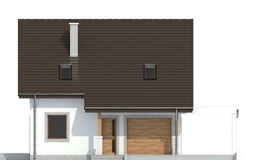 Turkawka z garażem i wiatą A1 - Elewacja przednia