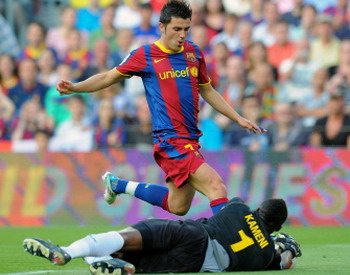 David Villa, Barcelona - Espanyol