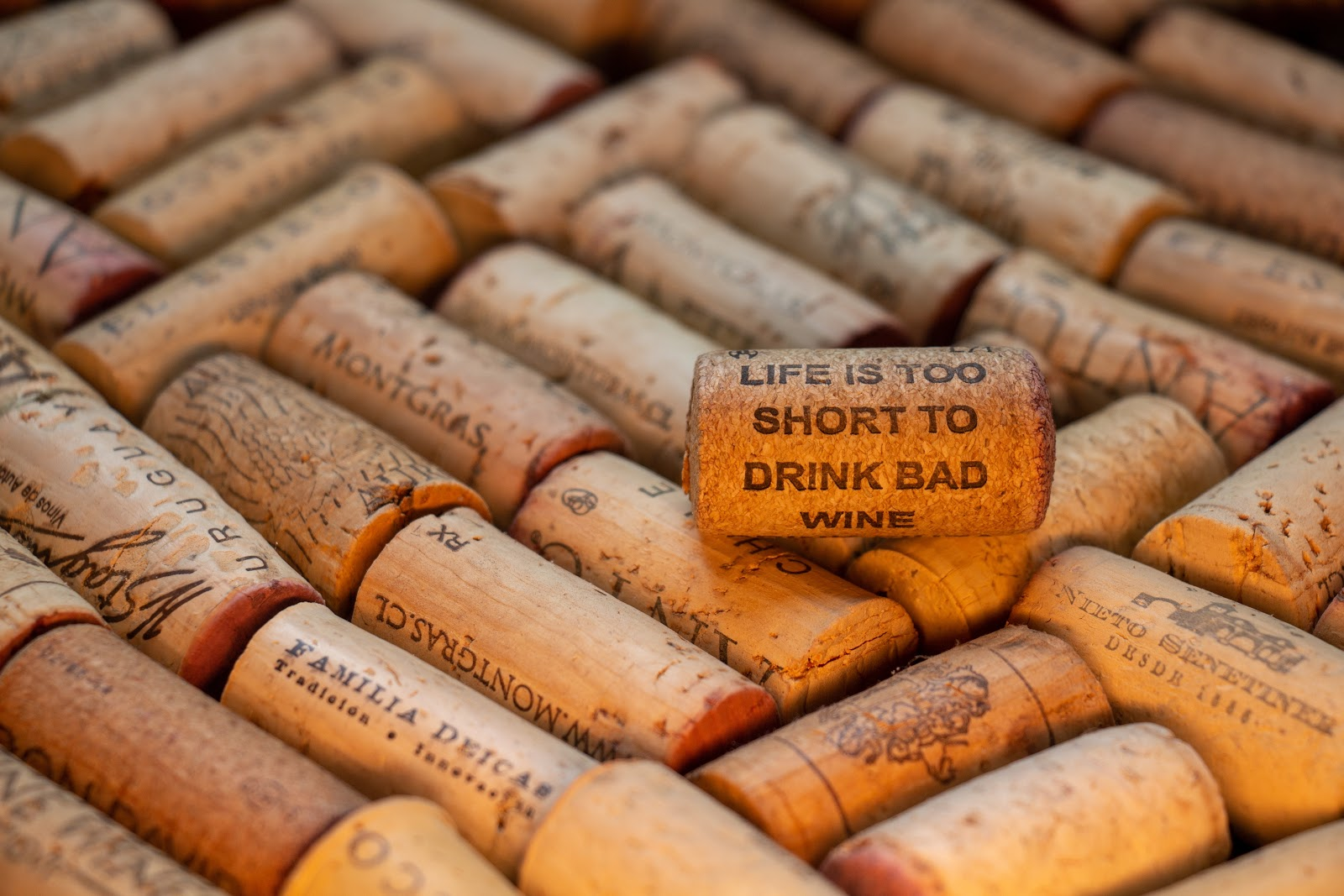A lot of wine corks; wine guide