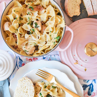 Creamy One Pot Chicken Marsala Pasta.
