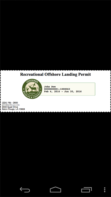 Rec. Offshore Landing Permits- screenshot