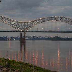 Down by the riverside by Joe Machuta - Buildings & Architecture Bridges & Suspended Structures ( memphis, hernando desoto bridge )