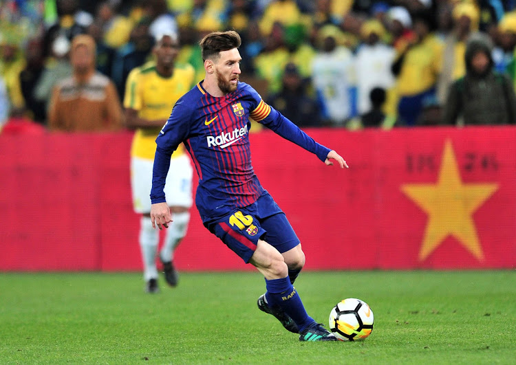Lionel Messi of Barcelona during the 2018 Mandela Centenary Cup Friendly match between Mamelodi Sundowns and Barcelona at FNB Stadium, Johannesburg on 16 May 2018.