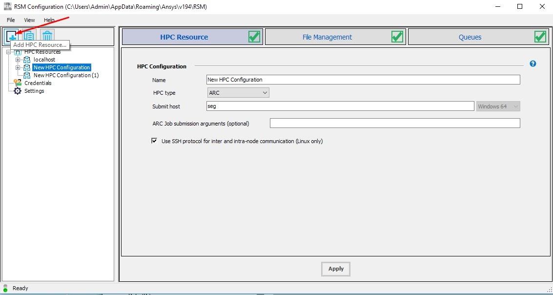 Нажмите кнопку «Add HPC Resourse» («Add Cluster» для версии 18.0) на панели инструментов