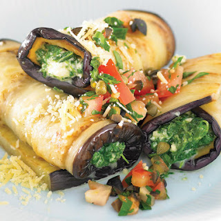 Spinach and Eggplant Cannelloni with Tomato Salad