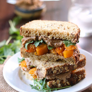 Roasted Butternut Squash Sandwiches with Balsamic White Bean Spread.
