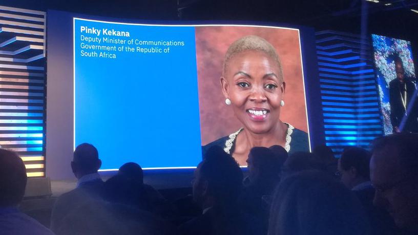 Deputy communications minister Pinky Kekana, speaking at the IBM Think Summit in Johannesburg.