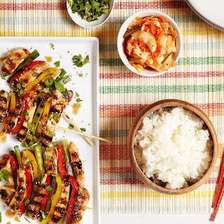 Korean Grilled Chicken and Veggie Skewers.