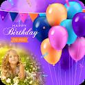 Birthday greeting cards maker: frame, name, photos icon