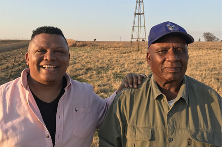 Free State farmer Samson Mahlaba (right) with TV presenter Ivor Price.