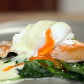 Poached Haddock And Poached Egg With Mustard Sauce.