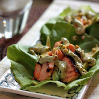 {recipe} Salmon Lettuce Wraps with Pistachio Cream.