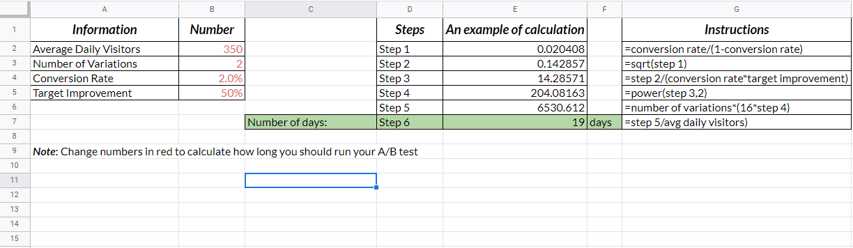 Calculating duration of a single A/B test in Excel