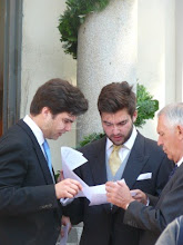 Photo: the groom Prince Louis (with blue tie) and his brother Prince Louis zu Sayn-Wittgenstein-Sayn