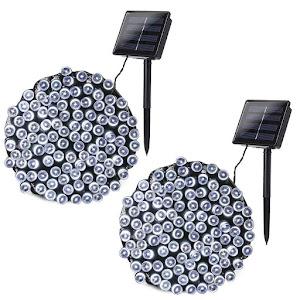 Set 2 x Instalatie solara 100 LED - ALB