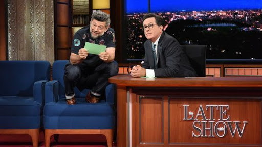 No letting up on Trump by Stephen Colbert and guest Andy Serkis