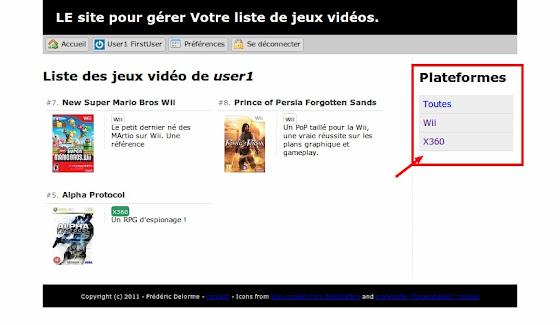 figure 2.4.3 - Intégration de la liste des plateformes dans la page d'accueil