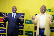 Mamelodi Sundowns coach Pitso Mosimane and Mamelodi Sundowns President Patrice Motsepe during the Mamelodi Sundowns 50th anniversary announcements in Sandton on May 21, 2020 in Johannesburg, South Africa.