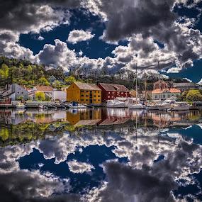 Halden, Norway 002 by IP Maesstro - Landscapes Waterscapes ( halden, reflection, harbor, hdr, ip maesstro, sea, boat, norway )