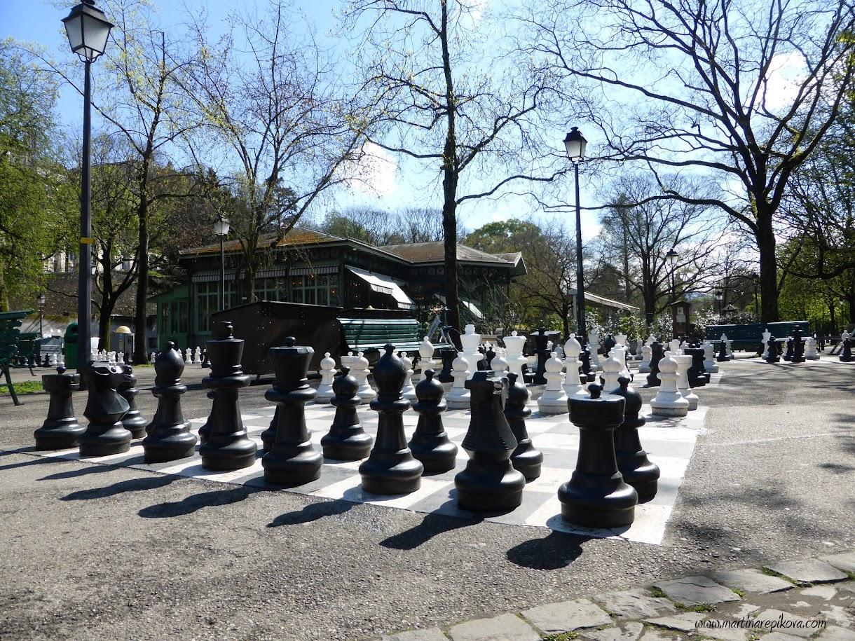 Giant chessboard at Parc des Bastions, Geneva, Switzerland