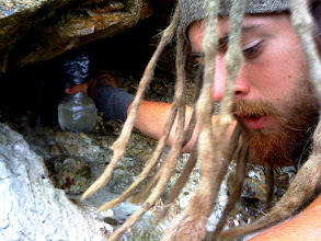 Photo: Yes, that is Aaron getting our water from a rock this time. Moses?