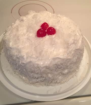Easy Cherry Coconut Cake with Divinity Icing