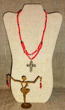 Photo: <BEREHYNYA> {Great Goddess Protectress} unique one-of-a-kind statement jewellery by Luba Bilash ART & ADORNMENT  # 115 KOSIV/КОСІВ - brass Hutsul cross, coral, brass beads, 14K gold vermeil $140/set