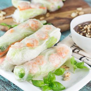 Fresh Vietnamese Spring Rolls with Peanut Sauce.