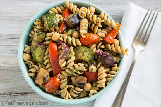 Warm Pasta Salad with Roasted Vegetables and Pesto Vinaigrette Recept ...