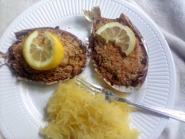 Crab Stuffed Shells And Spaghetti Squash. Mmmm Light Refreshing Spring Summer Dish