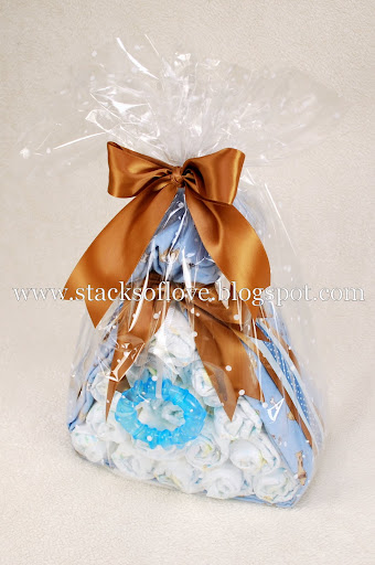Diaper Cake Stork Bundle with Puppy theme wrapped in blanket