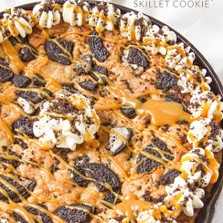 Salted Caramel Filled Oreo Chocolate Chip Skillet Cookie