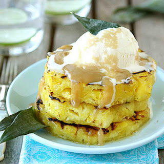 Grilled Pineapple with Brown Sugar Rum Sauce.