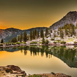 Cecret Lake Sunrise by Brandon Montrone - Landscapes Sunsets & Sunrises ( water, reflection, mountain, reflections, lake, sunrise, scenic, landscape )