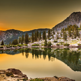 Cecret Lake Sunrise by Brandon Montrone - Landscapes Sunsets & Sunrises ( water, reflection, mountain, reflections, lake, sunrise, scenic, landscape )