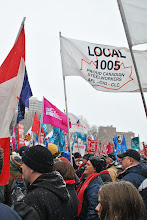 Photo: A flag of the locked out union flies high in the skies on a cold day in Hamilton.