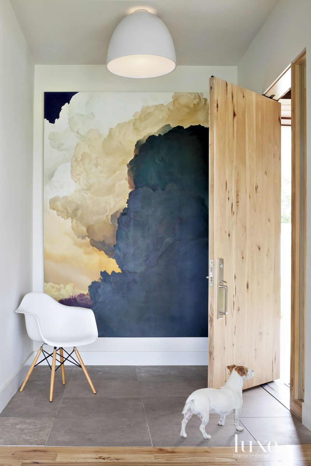 Gallery Style Walls in Your Home, Large Cloud Painting, Light Oak Door