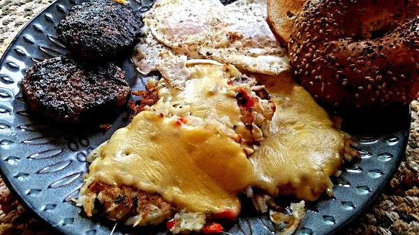 I served with, sausage patties, eggs and an everything bagel.  Hubby loved the hashbrowns. I...