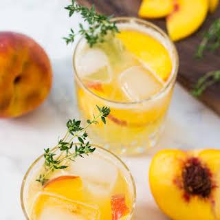 Peach Gin Fizz Cocktails.