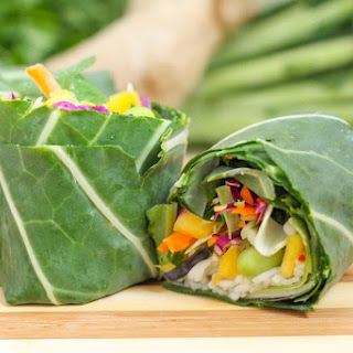 Rainbow Collard Wraps with Asian-Inspired Guacamole