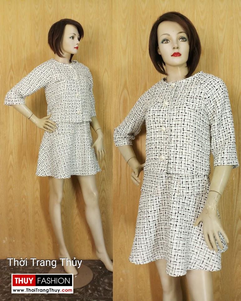 Áo khoác nữ Váy liền xòe vải tweed V654