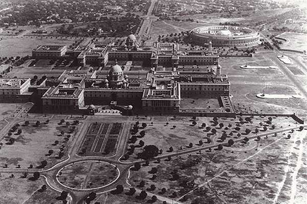 Old India Photos - Indian Parliament - Aerial view