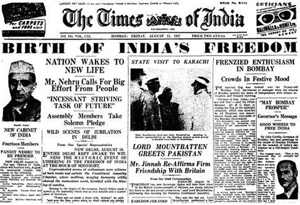 Old India Photos - The Times of India dated 15-August-1947