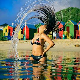Whipping Summer  by Crighton Klassen - People Portraits of Women ( water, tidal pool, australia, whip, hair )