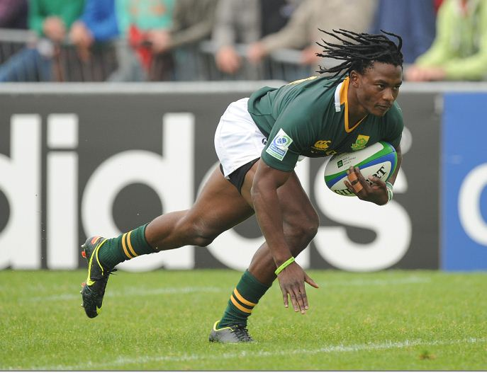 Seabelo Senatla in action for South Africa in La Roche-sur-Yon, France. Picture: GALLO IMAGES