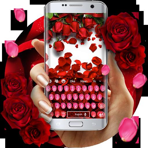 Red Rose Petal Floral Keyboard theme