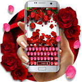 Red Rose Petal Floral Keyboard theme