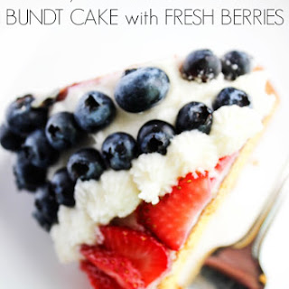 Red, White & Blue Bundt Cake with Fresh Berries