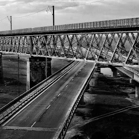 BEHIND THE BARS by Adrian Penes - Buildings & Architecture Bridges & Suspended Structures ( old, metal, black & white, romania, bridge )